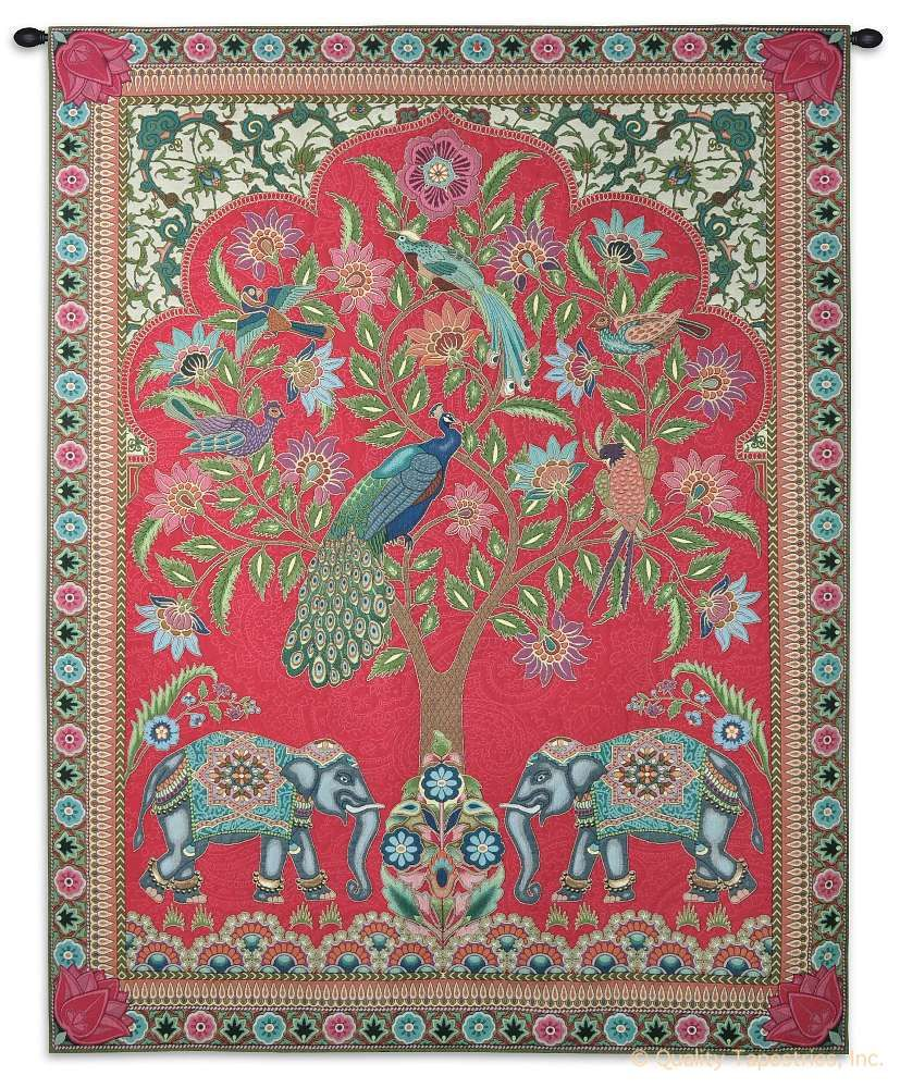 Indian Tree of Life Wall Tapestry C-6456, 50-59Incheswide, 52W, 60-69Inchestall, 6456-Wh, 6456C, 6456Wh, 67H, Abstract, Animal, Art, Bold, Carolina, USAwoven, Cotton, Design, Elephant, Elephants, Hanging, India, Indian, Intricate, Large, Life, Motif, Of, Oriental, Pattern, Peacock, Peacocks, Pink, Tapastry, Tapestries, Tapestry, Tapistry, Tree, Vertical, Wall, Woven, Bestseller, Treeoflife
