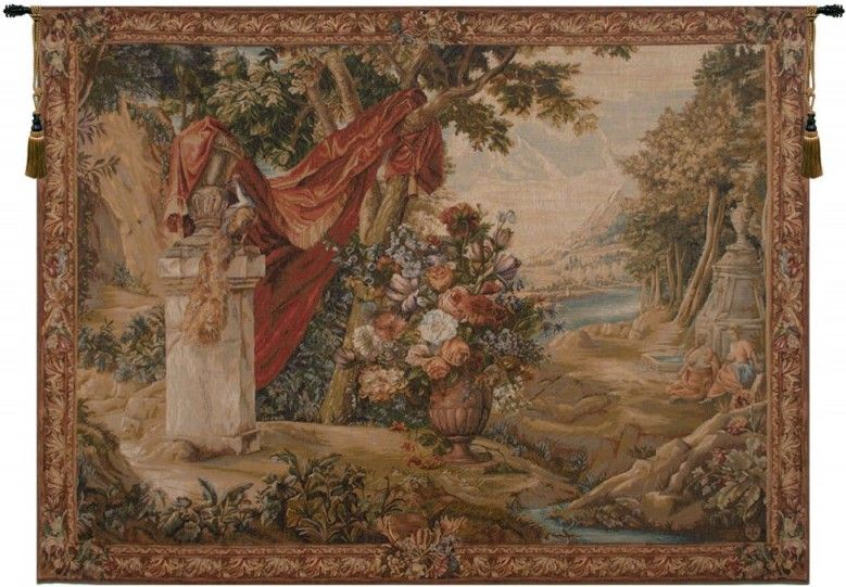 Bouquet Au Drape Fontaine with People French Wall Tapestry red, urn