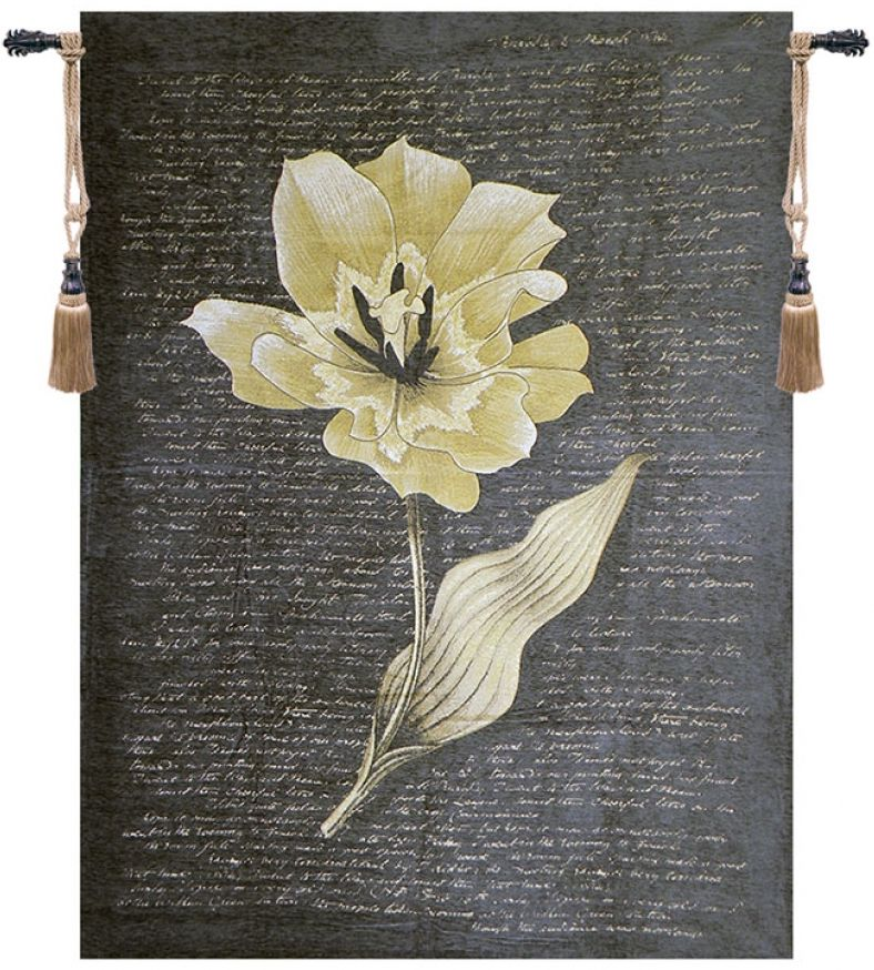 Chenille Orchid Belgian Wall Tapestry floral, artistic