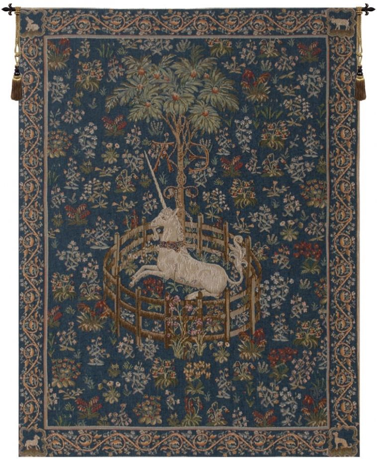 Licorne Captive Blue French Wall Tapestry unicorn, captivity, in, lady, and, the