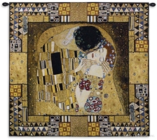 Gustav Klimt The Kiss Enclosed Wall Tapestry Abstract, Art, Brown, Carolina, USAwoven, Cotton, Elements, European, Famous, Gustav, Hanging, Kiss, Klimt, Large, People, Red, Tapastry, Tapestries, Tapestry, Tapistry, The, To, Vertical, Wall, Woven, tapestries, tapestrys, hangings, and, the, captured, encased
