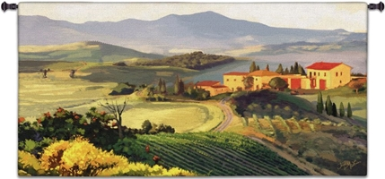 Dreaming of Tuscany Wall Tapestry C-3036, 30-39Inchestall, 3036-Wh, 3036C, 3036Wh, 32H, 50-59Incheswide, 53W, Afternoon, Art, Carolina, USAwoven, Cotton, Countryside, Earth, Erope, Estate, Europe, European, Eurupe, Field, Gold, Hanging, Home, Horizontal, Italian, Italy, Landscape, Landscapes, Light, Orange, Scene, Tapestries, Tapestry, Tuscan, Tuscany, Urope, Wall, Woven, tapestries, tapestrys, hangings, and, the, Dreaming of Tuscany Wall Tapestry, Landscape