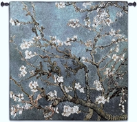 Almond Blossom Blue Square Wall Tapestry
