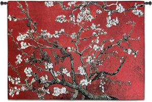 Almond Blossom Red Horizontal Wall Tapestry Abstract, Almond, Art, S, Blossom, Red, Botanical, Carolina, USAwoven, Cotton, Floral, Flower, Flowers, Gogh, Hanging, Oriental, Pedals,  Seller, Tapestries, Tapestry, Top50, Tree, Van, Wall, White, Woven, Woven, Bestseller, tapestries, tapestrys, hangings, and, the, exclusive