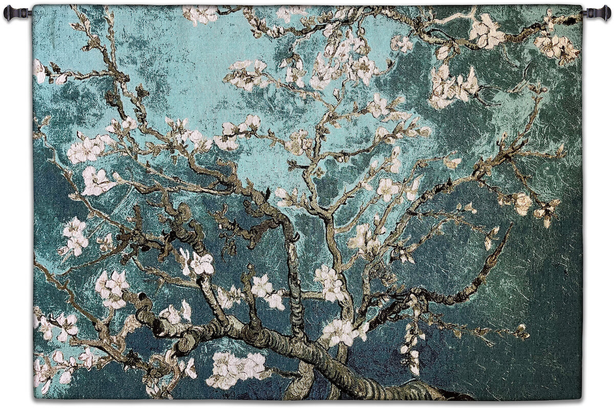 Almond Blossom Teal Horizontal Wall Tapestry Abstract, Almond, Art, S, Blossom, Teal, Turquoise, Botanical, Carolina, USAwoven, Cotton, Floral, Flower, Flowers, Gogh, Gray, Grey, Hanging, Oriental, Pedals, Purple, Seller, Square, Tapestries, Tapestry, Top50, Tree, Van, Wall, White, Woven, Woven, Bestseller, tapestries, tapestrys, hangings, and, the, exclusive