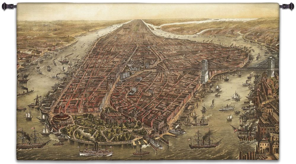 New York City in 1873 Wall Tapestry New York City Manhattan Antique Vintage Map East River Hudson