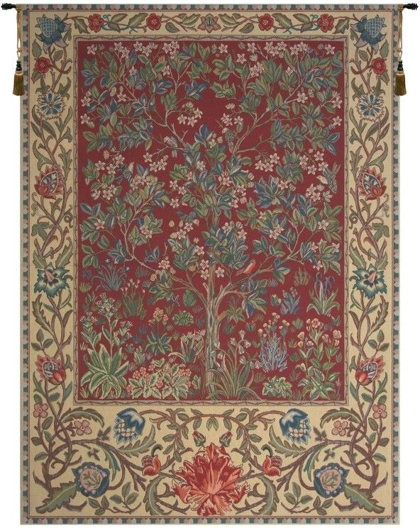 Tree of Life Red William Morris Belgian Wall Tapestry Hanging, Tapestries, Woven, tapestries, tapestrys, hangings, and, the, william, morris, belgium, tree, of, life, trees, wall, tapestry, blue, green, cream, border, leaf, leafs, leaves, vines, belgian