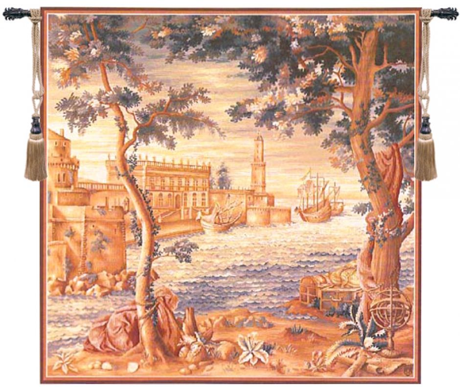 Le Port de Mer French Wall Tapestry W-1329, 50-59Inchestall, 50-59Incheswide, 58H, 58W, Art, Brown, Cotton, Europe, European, French, Grande, Group, Hanging, Harvest, Medieval, Of, Old, Olde, Pineapple, Square, Tapastry, Tapestries, Tapestry, Tapistry, Vintage, Wall, World, Woven, Frenchwoven, Europeanwoven, sea, seaport, boats, antique, tapestries, tapestrys, hangings, and, the