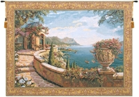 Gulf of Naples Belgian Wall Tapestry W-1655, 30-39Inchestall, 34H, 40-49Inchestall, 40-49Incheswide, 40H, 44H, 46W, 50-59Incheswide, 52W, 58W, Belgian, Blue, Bob, Border, Capri, Coast, Collection, Gold, Horizontal, Italian, Pejman, Robert, Tapestry, Terrace, Top50, Wall, Yellow, Bestseller, Belgianwoven, Europeanwoven, Italiancoast, tapestries, tapestrys, hangings, and, the, Capri, Terrace