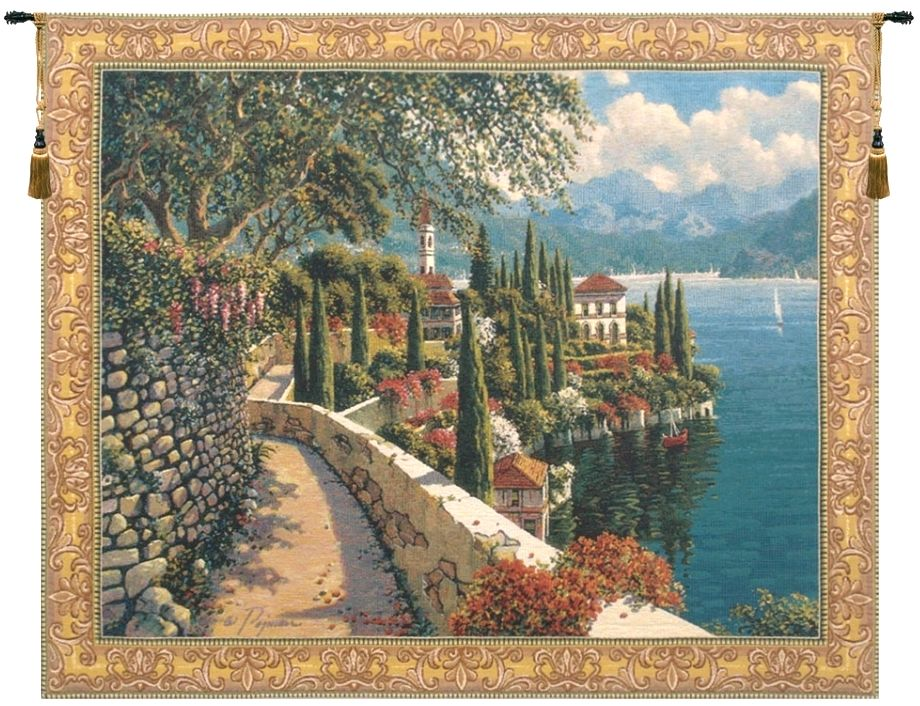 Seaside Path Belgian Wall Tapestry W-2356, 30-39Inchestall, 38H, 40-49Incheswide, 48W, 50-59Inchestall, 52H, 60-69Inchestall, 60-69Incheswide, 62H, 62W, 80-99Incheswide, 82W, Belgian, Big, Blue, Bob, Border, Coast, Collection, Como, Green, Horizontal, Italian, Lake, Large, Pejman, Really, Red, Robert, Tapestry, Varenna, Vista, Wall, Yellow, Bestseller, Belgianwoven, Europeanwoven, Italiancoast, verena, varena, verenna, compania, campania, italy, tapestries, tapestrys, hangings, and, the, wool, Lake, Como,Vista