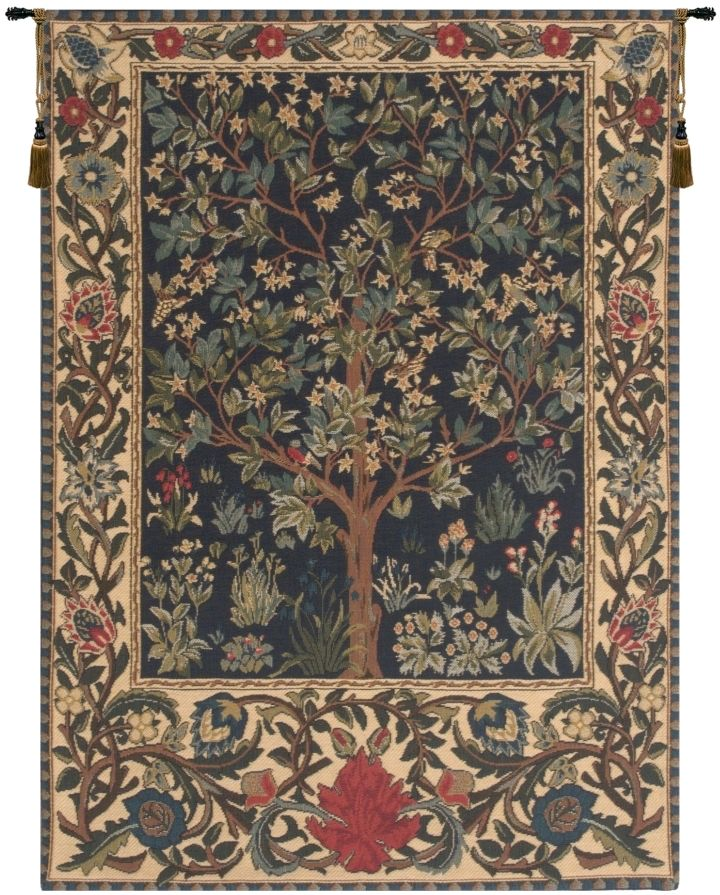 Tree of Life Green William Morris Belgian Wall Tapestry Hanging, Tapestries, Woven, tapestries, tapestrys, hangings, and, the, william, morris, belgium, tree, of, life, trees, wall, tapestry, blue, green, cream, border, leaf, leafs, leaves, vines, belgian