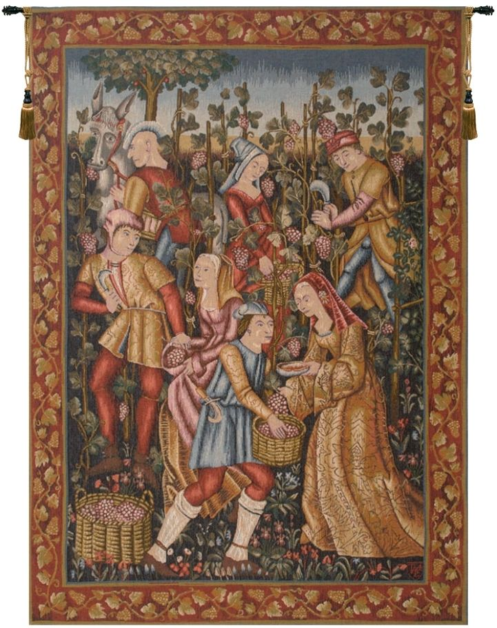 Grape Harvest Wine French Wall Tapestry W-489, 40-49Incheswide, 44W, 50-59Inchestall, 58H, Art, Cotton, Europe, European, Famous, France, French, Grande, Grape, Grapes, Hanging, Harvest, International, Medieval, Old, Olde, Red, Tapastry, Tapestries, Tapestry, Tapistry, Vendange, Vendanges, Vendage, Vendages, Tardive, Late, Harvest, Vertical, Vintage, Wall, Wine, World, Woven, Bestseller, Frenchwoven, Europeanwoven, tapestries, tapestrys, hangings, and, the, wool, Renaissance, rennaisance, rennaissance, renaisance, renassance, renaissanse