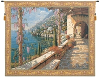 Cobblestone Path Belgian Wall Tapestry W-4978, 30-39Inchestall, 39H, 40-49Incheswide, 48W, 50-59Inchestall, 52H, 60-69Incheswide, 66W, Belgian, Blue, Bob, Border, Capri, Coast, Collection, Gold, Green, Horizontal, Italian, Pejman, Purple, Tapestry, Villa, Wall, Yellow, Bestseller, Belgianwoven, Europeanwoven, Italiancoast, tapestries, tapestrys, hangings, and, the, capri, villa, village, pathway