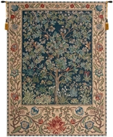 Tree of Life Blue William Morris Belgian Wall Tapestry Hanging, Tapestries, Woven, tapestries, tapestrys, hangings, and, the, william, morris, belgium, tree, of, life, trees, wall, tapestry, blue, green, cream, border, leaf, leafs, leaves, vines, belgian