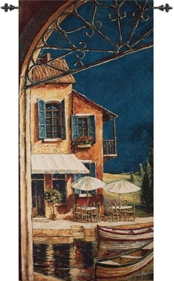 Mediterranean Bistro Wall Tapestry mww, italy, tapestries, tapestrys, hangings, and, the, cafe, restaurant, doorway, arch, window, italian