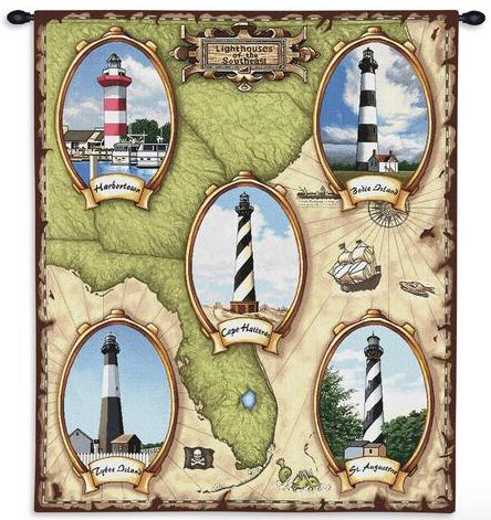 Lighthouse Southeast II Wall Tapestry C-1055, 10-29Incheswide, 1055-Wh, 1055C, 1055Wh, 26W, 30-39Inchestall, 32H, Brown, Carolina, USAwoven, Coastal, Dowel, Ii, Lighthouse, Southeast, Tapestry, Vertical, Wall, Wood, tapestries, tapestrys, hangings, and, the