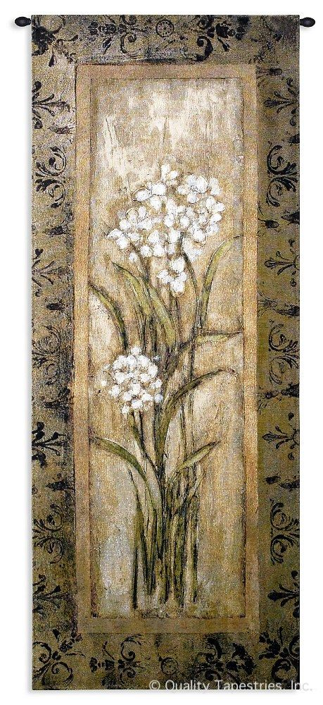 Paperwhite I Wall Tapestry C-1386, 10-29Incheswide, 1386-Wh, 1386C, 1386Wh, 22W, 50-59Inchestall, 53H, Beige, Brown, Carolina, USAwoven, Floral, Group, I, Paperwhite, Tapestry, Vertical, Wall, tapestries, tapestrys, hangings, and, the