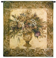 Tuscan Urn Wall Tapestry C-1388, 1388-Wh, 1388C, 1388Wh, 40-49Incheswide, 45W, 50-59Inchestall, 53H, Art, Botanical, Bouquet, Brown, Carolina, USAwoven, Cotton, Floral, Flower, Flowers, Hanging, Of, Pedals, Pink, Tapestries, Tapestry, Tuscan, Urn, Vase, Vertical, Wall, Woven, tapestries, tapestrys, hangings, and, the