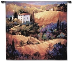 Tuscany Landscape I Wall Tapestry C-1411, 1411-Wh, 1411C, 1411Wh, 50-59Inchestall, 50-59Incheswide, 53H, 53W, Art, Carolina, USAwoven, Cotton, Earth, Erope, Europe, European, Eurupe, Field, Gold, Group, Hanging, Home, I, Italian, Italy, Landscape, Landscapes, Orange, Scene, Square, Tapestries, Tapestry, Tuscan, Tuscany, Urope, Wall, Woven, tapestries, tapestrys, hangings, and, the