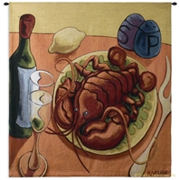 Lobster and Wine Wall Tapestry C-1435, 1435-Wh, 1435C, 1435Wh, 50-59Inchestall, 50-59Incheswide, 53H, 53W, Abstract, And, Art, Carolina, USAwoven, Chef, Colorful, Contemporary, Cook, Culinary, Europe, European, Food, Hanging, Italian, Italy, Kitchen, Lemon, Lobster, Meal, Modern, Red, Restaurant, Ristorante, Square, Tapastry, Tapestries, Tapestry, Tapistry, Tuscan, Wall, Whimsical, Wine, Yellow, tapestries, tapestrys, hangings, and, the