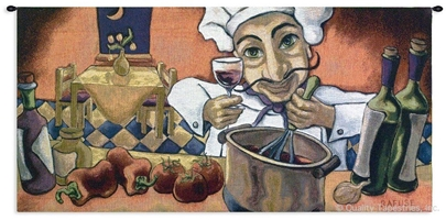 Italian Chef Wine I Wall Tapestry C-1438, 1438-Wh, 1438C, 1438Wh, 30-39Inchestall, 37H, 50-59Incheswide, 53W, Abstract, Alcohol, Art, Carolina, USAwoven, Chef, Cook, Cooking, Cotton, Culinary, European, Group, Hanging, Horizontal, I, Italian, Italy, Kitchen, Orange, Red, Restaurant, Ristorante, Spirits, Tapestries, Tapestry, Tuscan, Vineyard, Wall, Whimsical, Wine, Woven, tapestries, tapestrys, hangings, and, the