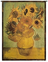 Van Gogh Sunflowers Wall Tapestry C-1494, 1494-Wh, 1494C, 1494Wh, 30-39Incheswide, 38W, 50-59Inchestall, 53H, Abstract, Art, Artist, Botanical, Brown, Carolina, USAwoven, Contemporary, Cotton, Floral, Flower, Flowers, Gogh, Gold, Green, Hanging, In, Modern, Painting, Pedals, Pot, Sunflowers, Tapestries, Tapestry, Van, Vertical, Vincent, Wall, Woven, Yellow, tapestries, tapestrys, hangings, and, the