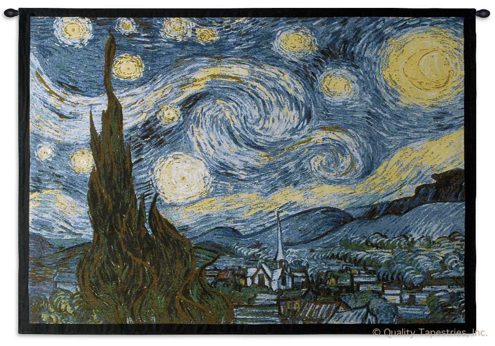 Van Gogh Starry Night Wall Tapestry C-1654, 1654-Wh, 1654C, 1654Wh, 40-49Inchestall, 40H, 50-59Incheswide, 53W, Abstract, Art, Artist, Ashley, S, Black, Blue, Border, Carolina, USAwoven, Contemporary, Cotton, Famous, Gogh, Gold, Hanging, Horizontal, Masterpiece, Masterpieces, Modern, Night, Old, Painting, Paintings, Seller, Starry, Tapastry, Tapestries, Tapestry, Tapistry, Top50, Van, Vincent, Wall, Woven, Yellow, Yellow, Bestseller, tapestries, tapestrys, hangings, and, the