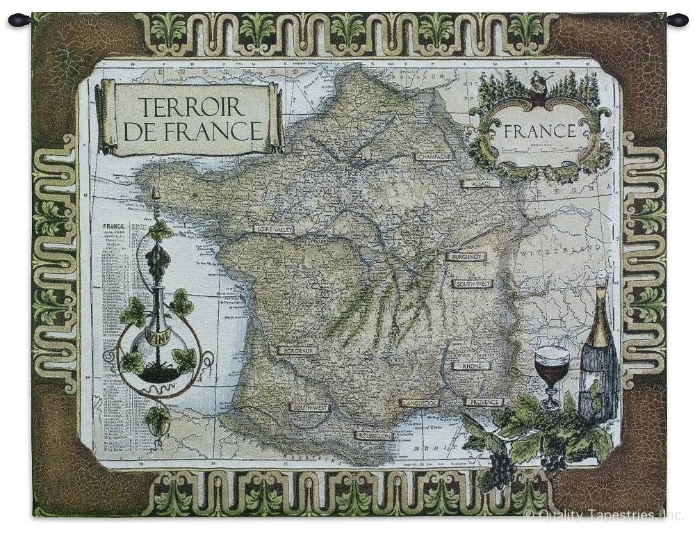 Map of France Wine Country Wall Tapestry C-1682, 1682-Wh, 1682C, 1682Wh, 40-49Inchestall, 42H, 50-59Incheswide, 53W, Antique, Art, Brown, Carolina, USAwoven, Cotton, Country, Europe, European, France, French, Grande, Hanging, Hemisphere, Hemispheres, Horizontal, Map, Maps, Of, Old, Olde, Pangea, Tapestries, Tapestry, Vineyard, Vintage, Wall, Wine, World, Woven, tapestries, tapestrys, hangings, and, the