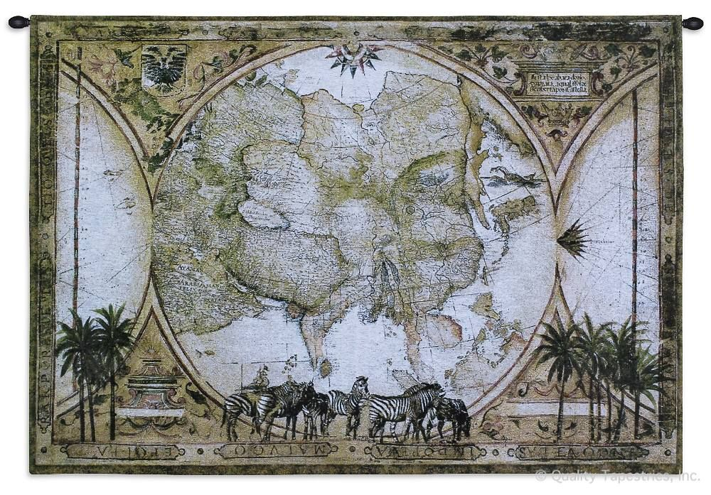 Old World Vintage Map Pangaea Wall Tapestry C-1713, 1713-Wh, 1713C, 1713Wh, 40-49Inchestall, 40H, 50-59Incheswide, 53W, Ancient, Antique, Art, S, Brown, Carolina, USAwoven, Cotton, Famous, Grande, Hanging, Hemisphere, Hemispheres, Horizontal, Map, Maps, Old, Olde, Pangaea, Pangea, Seller, Tapestries, Tapestry, Tropical, Vintage, Wall, World, Woven, Woven, Zebras, tapestries, tapestrys, hangings, and, the