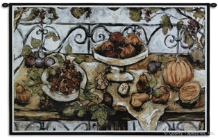 Harvest Table Wall Tapestry C-1768, 1768-Wh, 1768C, 1768Wh, 30-39Inchestall, 38H, 50-59Incheswide, 53W, Brown, Carolina, USAwoven, Cream, Harvest, Horizontal, Life, Red, Still, Table, Tapestry, Wall, tapestries, tapestrys, hangings, and, the