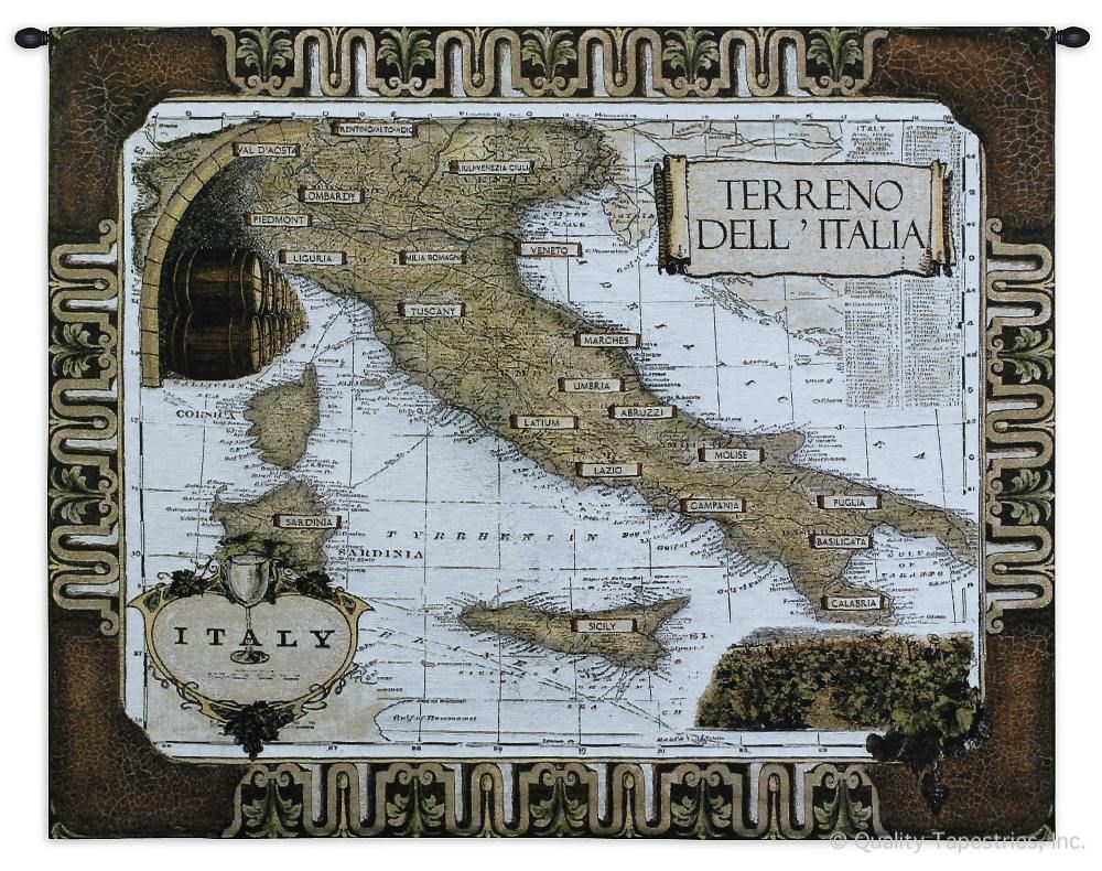 Map of Italy Wine Country Wall Tapestry C-1831, 1831-Wh, 1831C, 1831Wh, 40-49Inchestall, 42H, 50-59Incheswide, 53W, Antique, Art, Ashley, Brown, Carolina, USAwoven, Cotton, Country, Grande, Hanging, Hemisphere, Hemispheres, Horizontal, Italian, Italy, Map, Maps, Of, Old, Olde, Pangea, Tapestries, Tapestry, Vintage, Wall, Wine, World, Woven, tapestries, tapestrys, hangings, and, the