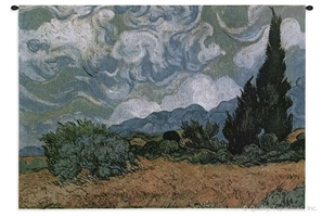 Van Gogh Wheatfield With Cypresses Wall Tapestry C-1406, 40-49Inchestall, 40H, 50-59Incheswide, 54W, Abstract, Art, Artist, S, Blue, Carolina, USAwoven, Contemporary, Cotton, Cypress, Cypresses, Famous, Field, Gogh, Green, Hanging, Horizontal, Masterpiece, Masterpieces, Modern, Old, Painting, Paintings, Seller, Sky, Swirls, Tapestries, Tapestry, Van, Wall, Wheat, Wheatfield, With, Woven, Woven, Bestseller, tapestries, tapestrys, hangings, and, the