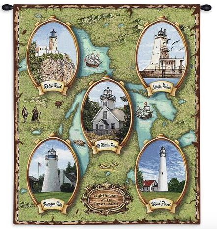 Lighthouses of the Great Lakes II Wall Tapestry C-2119, Carolina, USAwoven, Tapestry, Nautical, Green, 10-29Incheswide, 30-39Inchestall, Vertical, Cotton, Woven, Wall, Hanging, Tapestries, tapestries, tapestrys, hangings, and, the