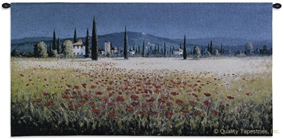 Tuscan Poppies Wall Tapestry C-2228, Carolina, USAwoven, Tapestry, Floral, Yellow, Blue, 50-59Incheswide, 10-29Inchestall, Horizontal, Cotton, Woven, Wall, Hanging, Tapestries, tapestries, tapestrys, hangings, and, the