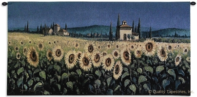 Tuscan Sunflower Wall Tapestry C-2229, Carolina, USAwoven, Tapestry, Floral, Yellow, Blue, 50-59Incheswide, 10-29Inchestall, Horizontal, Cotton, Woven, Wall, Hanging, Tapestries, tapestries, tapestrys, hangings, and, the
