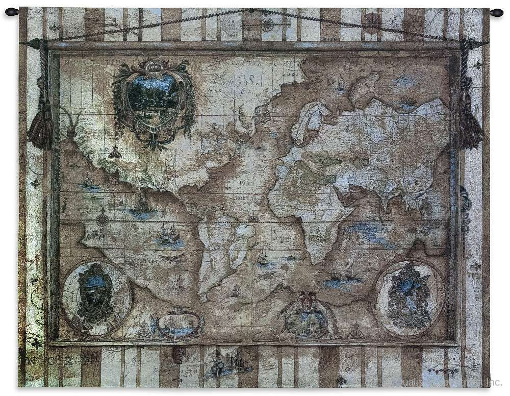 Vintage Style Old World Map Wall Tapestry C-2347, 2347-Wh, 2347C, 2347Wh, 40-49Inchestall, 40H, 50-59Incheswide, 53W, Ancient, Antique, Art, Beige, S, Brown, Carolina, USAwoven, Cotton, Famous, Grande, Hanging, Hemisphere, Hemispheres, Horizontal, Light, Map, Maps, Old, Olde, Pangea, Seller, Style, Tapestries, Tapestry, Vintage, Wall, World, Woven, Woven, tapestries, tapestrys, hangings, and, the