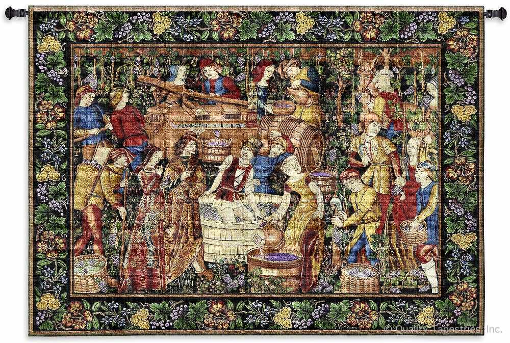 Medieval Vendanges Grape Harvest Wall Tapestry C-2383, 2383-Wh, 2383C, 2383Wh, 50-59Inchestall, 53H, 70-79Incheswide, 75W, Ancient, Antique, Art, Artist, S, Big, Blue, Brown, Carolina, USAwoven, Cellar, Cotton, European, Famous, Grape, Green, Hanging, Harvest, Horizontal, Large, Late, Masterpiece, Masterpieces, Medieval, Old, Olde, Painting, Paintings, Seller, Tapestries, Tapestry, Vendanges, Vineyard, Vintage, Wall, Wide, Wine, World, Woven, Woven, Bestseller, tapestries, tapestrys, hangings, and, the