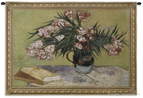 Van Gogh Oleanders Wall Tapestry C-2427, 2427-Wh, 2427C, 2427Wh, 30-39Inchestall, 38H, 50-59Incheswide, 53W, Abstract, Art, Botanical, Bouquet, Carolina, USAwoven, Cotton, Floral, Flower, Flowers, Gogh, Green, Hanging, Horizontal, Of, Oleanders, Pedals, Pink, Tapestries, Tapestry, Van, Vincent, Wall, Woven, tapestries, tapestrys, hangings, and, the