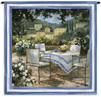 Tuscany Terrace Wall Tapestry C-2455, Carolina, USAwoven, Tapestry, European, Green, Cream, Table, Blue, White, 50-59Incheswide, 50-59Inchestall, Square, Cotton, Woven, Wall, Hanging, Tapestries, tapestries, tapestrys, hangings, and, the