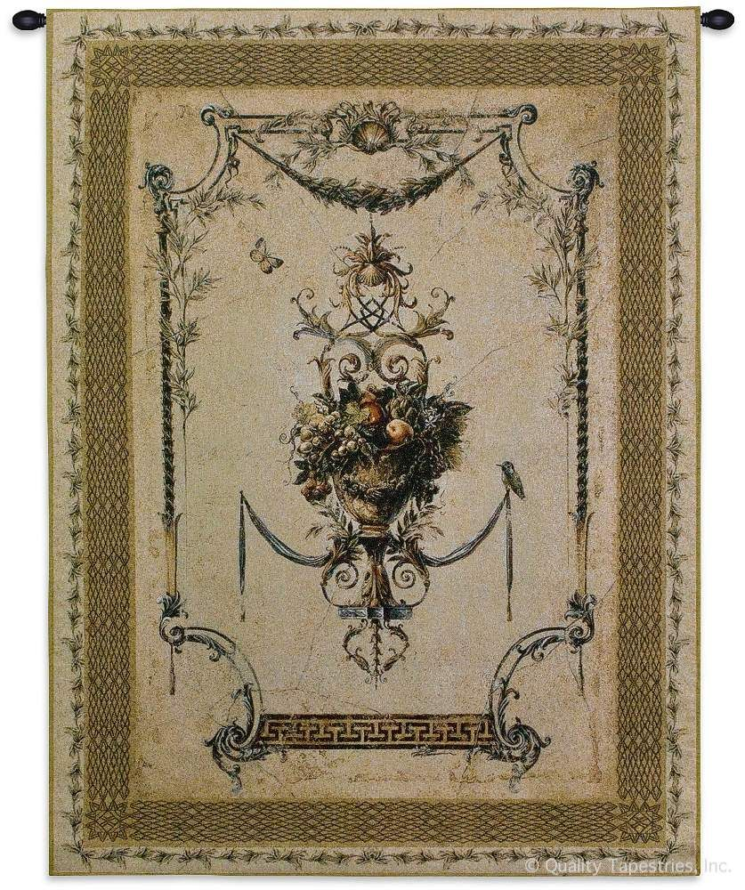 Summer Harvest Cotton Wall Tapestry C-2476, Carolina, USAwoven, Tapestry, Floral, Cream, Light, Border, Fruit, 40-49Incheswide, 50-59Inchestall, Vertical, Cotton, Woven, Wall, Hanging, Tapestries, tapestries, tapestrys, hangings, and, the