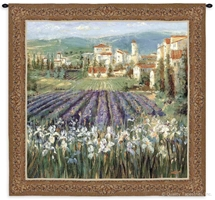 Provincial Village Landscape Wall Tapestry C-2727, 2727-Wh, 2727C, 2727Wh, 50-59Inchestall, 50-59Incheswide, 53H, 53W, Art, Carolina, USAwoven, Cotton, Earth, Erope, Estate, Europe, European, Eurupe, Field, Floral, Flowers, France, French, Hanging, Home, Italian, Italy, Landscape, Landscapes, Provincial, Purple, Scene, Spain, Spanish, Square, Sss, Tapestries, Tapestry, Tuscan, Tuscany, Urope, Villa, Village, Wall, Woven, tapestries, tapestrys, hangings, and, the