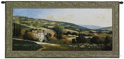 My Villa In Tuscany Wall Tapestry C-2755, Carolina, USAwoven, Tapestry, European, Landscape, Home, Estates, Green, Cream, Border, 50-59Incheswide, 10-29Inchestall, Horizontal, Cotton, Woven, Wall, Hanging, Tapestries, tapestries, tapestrys, hangings, and, the