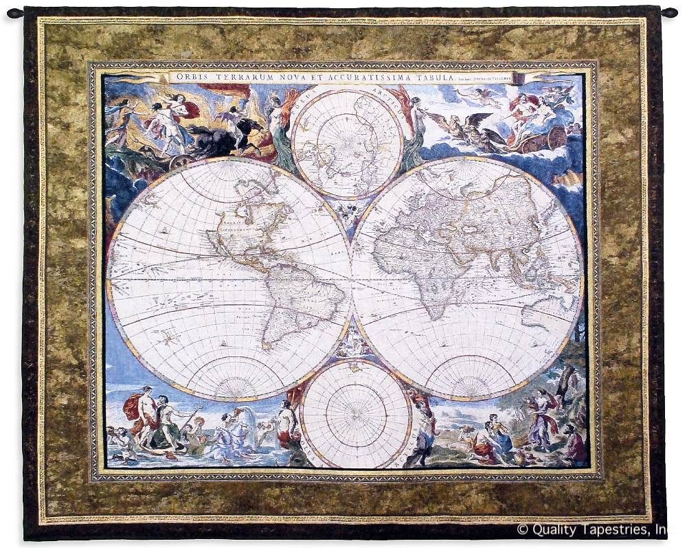 Old World Map Hemispheres Wall Tapestry C-2763, 2763-Wh, 2763C, 2763Wh, 40-49Inchestall, 42H, 50-59Incheswide, 52W, Ac, Ancient, Antique, Art, S, Blue, Brown, Carolina, USAwoven, Cotton, Famous, Geographica, Grande, Hanging, Hemisphere, Hemispheres, Horizontal, Hydrographica, Map, Maps, Nova, Old, Olde, Orbis, Pangea, Seller, Tabula, Tapestries, Tapestry, Terrae, Terrarum, Top50, Totius, Vintage, Wall, World, Woven, Woven, tapestries, tapestrys, hangings, and, the