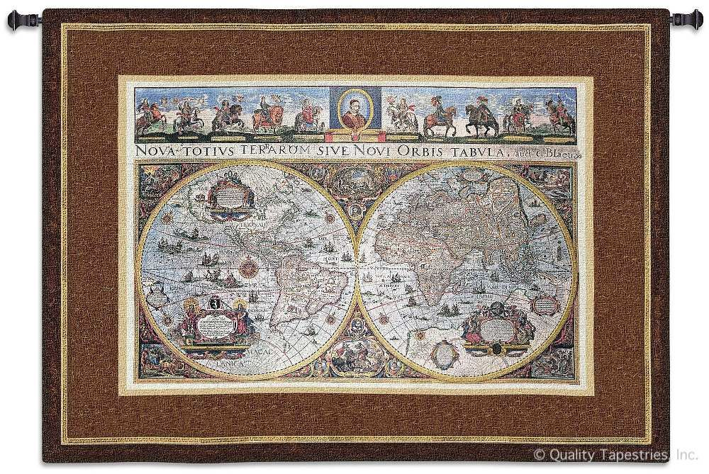 Nova Terrarum Orbis World Map Wall Tapestry C-2773, 2773-Wh, 2773C, 2773Wh, 50-59Inchestall, 53H, 70-79Incheswide, 73W, Ac, Ancient, Antique, Art, Blue, Brown, Carolina, USAwoven, Cotton, Famous, Geographica, Grande, Hanging, Hemisphere, Hemispheres, Horizontal, Hydrographica, Map, Maps, Nova, Old, Olde, Orbis, Pangea, Tabula, Tapestries, Tapestry, Terarum, Terrae, Terrarum, Totius, Vintage, Wall, World, Woven, tapestries, tapestrys, hangings, and, the