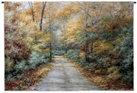 Autumn Trees Country Road Wall Tapestry C-2827, 2827-Wh, 2827C, 2827Wh, 30-39Inchestall, 37H, 50-59Incheswide, 53W, Art, Autumn, Botanical, Carolina, USAwoven, Cotton, Country, Floral, Flower, Flowers, Green, Hanging, Horizontal, Pedals, Road, Tapestries, Tapestry, Trees, Wall, Woven, Bestseller, tapestries, tapestrys, hangings, and, the