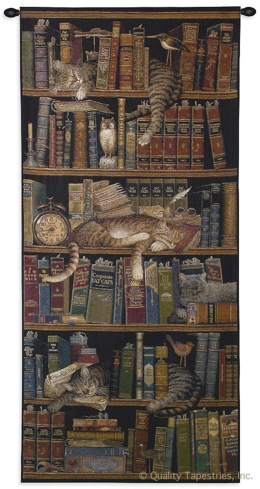 Classic Tails Library Cats Wall Tapestry C-2875M, 10-29Incheswide, 2732-Wh, 2732C, 2732Wh, 27W, 2875-Wh, 2875C, 2875Cm, 2875Wh, 30-39Incheswide, 36W, 50-59Inchestall, 55H, 70-79Inchestall, 75H, Animal, Animals, Art, S, Book, Books, Brown, Carolina, USAwoven, Cats, Classic, Cotton, Dark, English, Hanging, Library, Long, Narrow, Panel, Seller, Sleeping, Tails, Tall, Tapastry, Tapestries, Tapestry, Tapistry, Top50, Vertical, Wall, Woven, Woven, Bestseller, tapestries, tapestrys, hangings, and, the