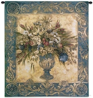 Tuscan Urn Cerulean Wall Tapestry C-2918, Carolina, USAwoven, Tapestry, Floral, Botanical, Still, Life, Abstract, Yellow, Blue, Group, 40-49Incheswide, 50-59Inchestall, Vertical, Cotton, Woven, Wall, Hanging, Tapestries, tapestries, tapestrys, hangings, and, the
