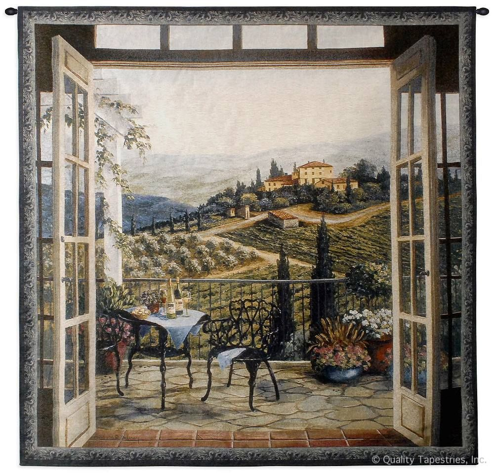 Balcony View of the Villa Wall Tapestry C-2950, 2950-Wh, 2950C, 2950Wh, 50-59Inchestall, 50-59Incheswide, 53H, 53W, Art, Balcony, S, Carolina, USAwoven, Cotton, Doors, Estate, Europe, European, Green, Hanging, Home, Landscape, New, Of, Seller, Square, Tapestries, Tapestry, Tapistry, The, Top50, Trees, View, Villa, Vineyard, Wall, Wine, Woven, Woven, Bestseller, tapestries, tapestrys, hangings, and, the