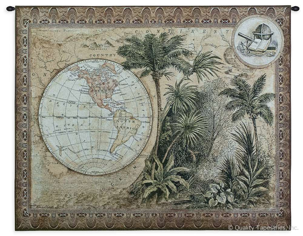 Tropical World Map Wall Tapestry C-2991, 2991-Wh, 2991C, 2991Wh, 40-49Inchestall, 43H, 50-59Incheswide, 53W, Ancient, Antique, Art, Border, Brown, Carolina, USAwoven, Cotton, Famous, Grande, Green, Hanging, Hemisphere, Hemispheres, Horizontal, Map, Maps, Old, Olde, Pangea, Tapestries, Tapestry, Tropical, Vintage, Wall, World, Woven, tapestries, tapestrys, hangings, and, the