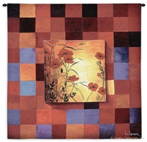 Poppies & Squares Wall Tapestry C-3025, &, 3025-Wh, 3025C, 3025Wh, 50-59Inchestall, 50-59Incheswide, 53H, 53W, Abstract, Art, Blue, Botanical, Carolina, USAwoven, Contemporary, Cotton, Don, Floral, Flower, Flowers, Hanging, Leger, Li, Li-Leger, Modern, Orange, Pedals, Poppies, Red, Square, Squares, Sss, Tapastry, Tapestries, Tapestry, Tapistry, Wall, Woven, tapestries, tapestrys, hangings, and, the